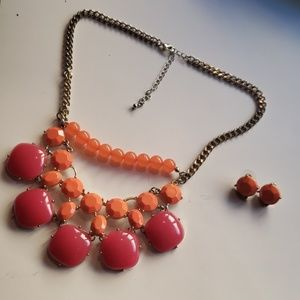 Orange and Pink necklace and earing set